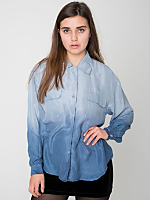 Vintage Blue Ombré Silk Button-Up