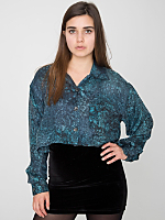 California Select Originals Silk Cropped Long Sleeve Button-Up