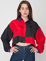 California Select Original Silk Cropped Long Sleeve Button-Up