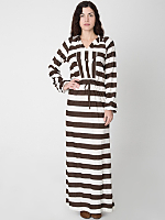 Vintage Striped Hooded Maxi Dress