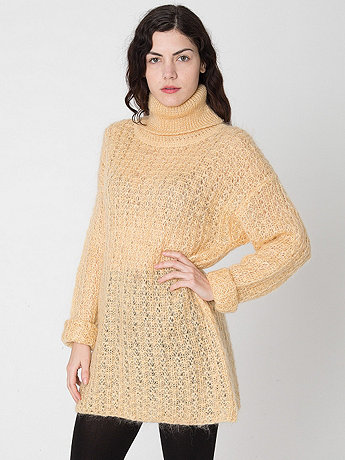 Vintage Open Knit Mohair Turtleneck Sweater Dress