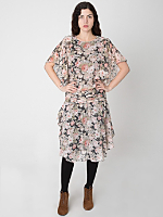 Vintage Rose Print Flutter Sleeve Dropwaist Dress