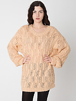 Vintage Open Cable Knit V-Neck Sweater Dress