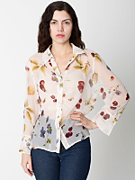 Vintage Fruit & Flower Sheer Silk Blouse