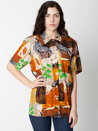 Vintage Abstract Print Short-Sleeve Blouse