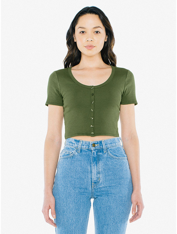 Ribbed Button Front Short Sleeve Crop Top