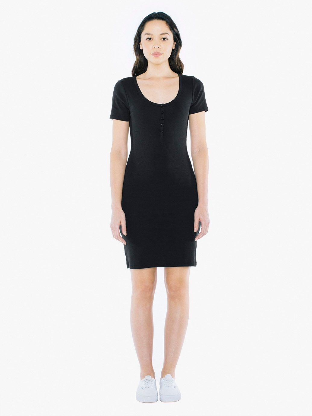 Ribbed Henley Dress | Tuggl