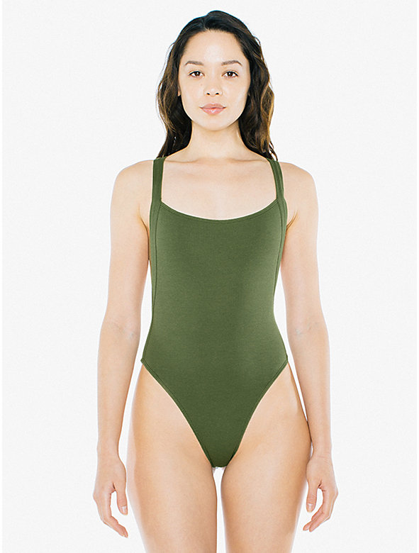 Ribbed Thick Strap Thong Bodysuit