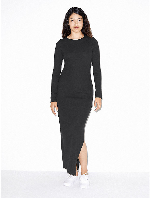 Cotton 2x2 Long Sleeve Crewneck Dress