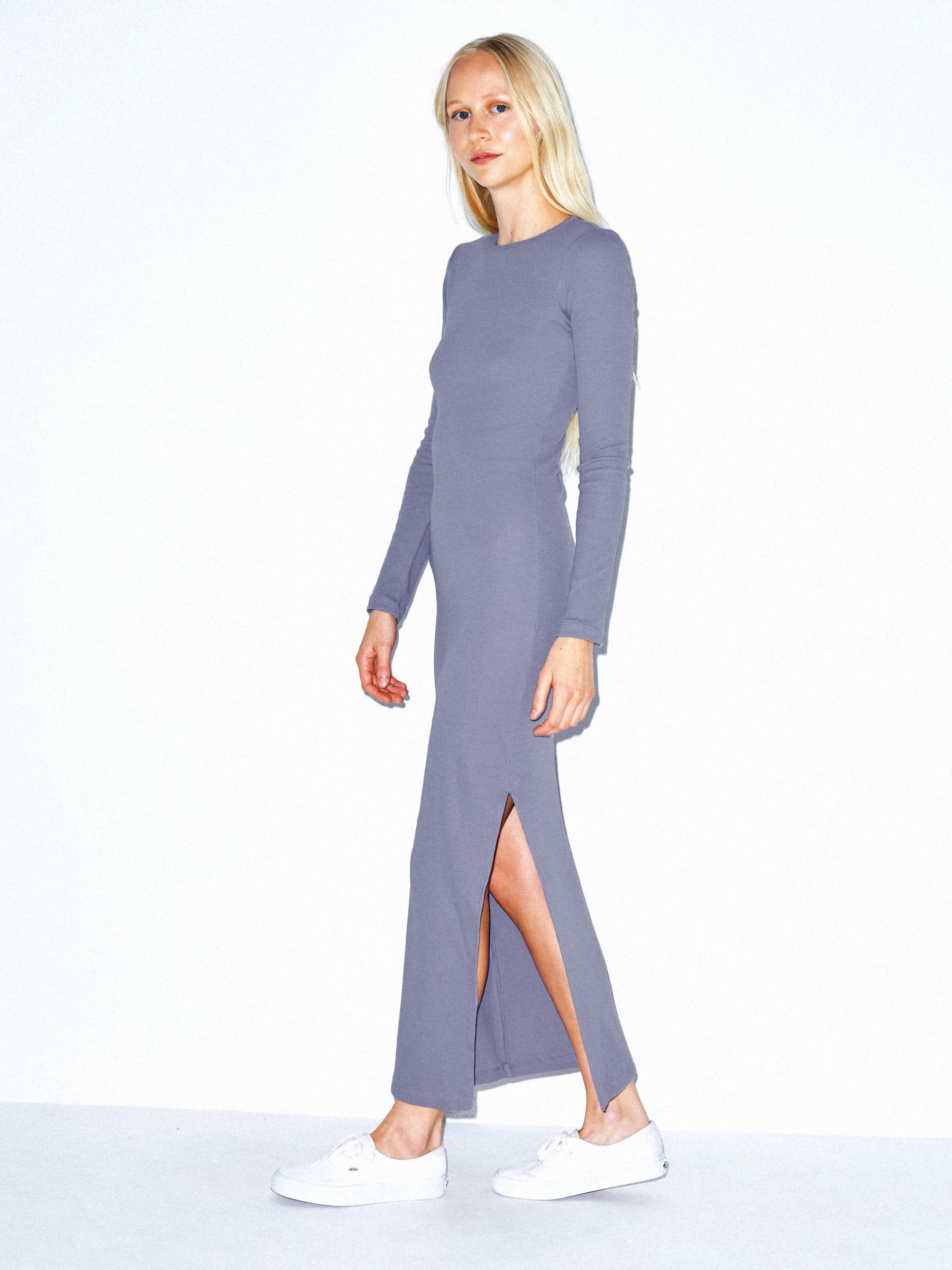 Cotton 2x2 Long Sleeve Crewneck Dress by American Apparel