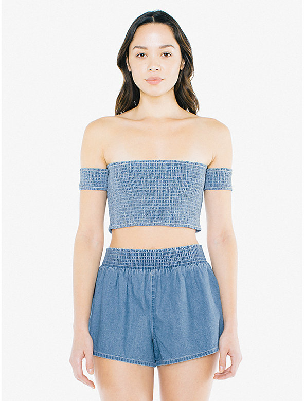 Denim Smocked Crop Top
