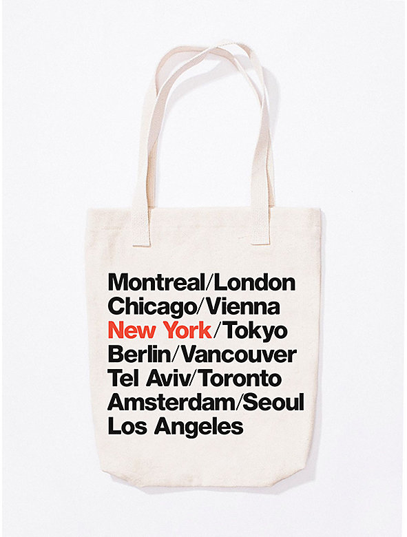 New York Cities Print Bull Denim Tote
