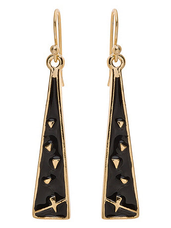 Black Triangle Drop Earrings