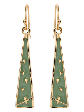 Spring Green Triangle Drop Earrings