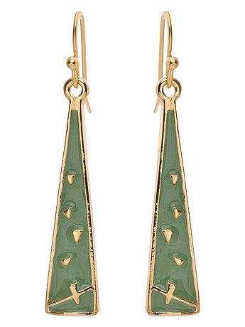 Spring Green Triangle Drop Earrings