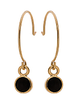 Black Round Half Hoop Wire Earrings