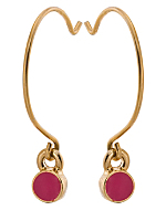 Fuchsia Round Half Hoop Wire Earrings