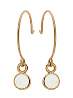 White Round Half Hoop Wire Earrings