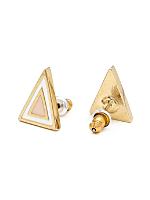 Light Pink Enamel Triangle Post Earring