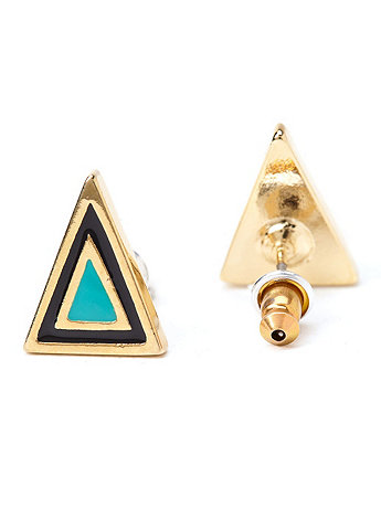 Mint Enamel Triangle Post Earring