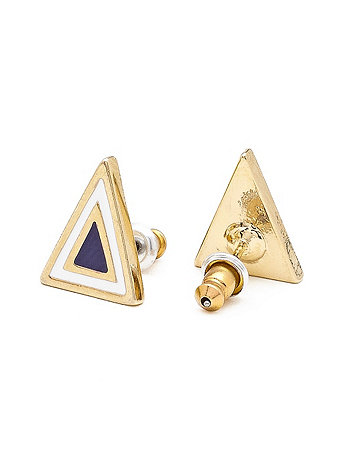 Navy Enamel Triangle Post Earring