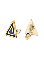 Royal Blue Enamel Triangle Post Earring