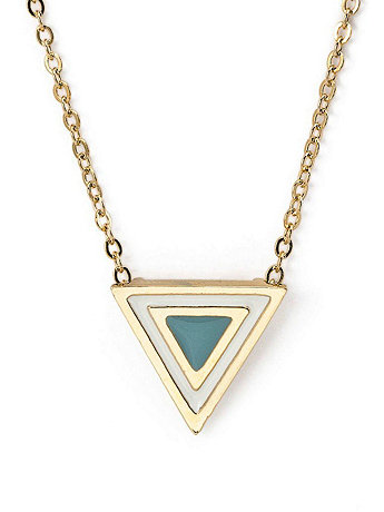 Baby Blue Enamel Triangle Necklace