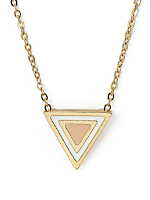 Light Pink Enamel Triangle Necklace