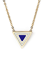Navy Enamel Triangle Necklace