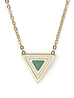 Spring Green Enamel Triangle Necklace