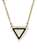 White Enamel Triangle Necklace