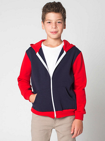 Color Block Youth Flex Fleece Zip Hoodie