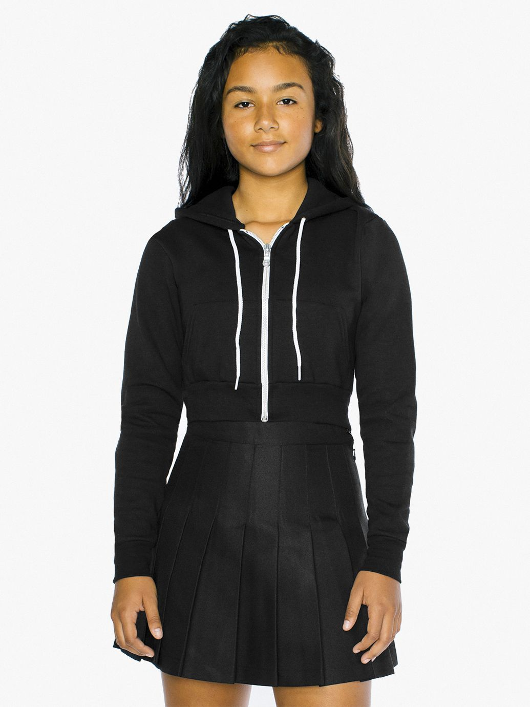 Kids' Flex Fleece Cropped Zip Hoodie by American Apparel