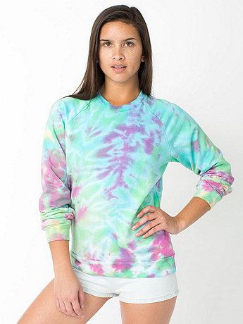 Unisex Tie Dye Fleece Crewneck Pullover Drop-Shoulder Sweatshirt