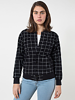 Unisex Grid Print Flex Fleece Club Jacket