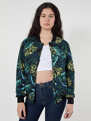 Unisex Jungle Leaves Printed Flex Fleece Club Jacket