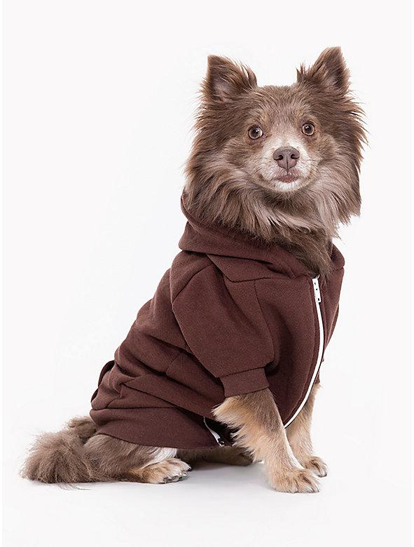 Brown Flex Fleece Dog Zip Hoodie