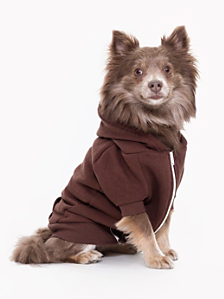 Brown Flex Fleece Dog Zip Hoodie