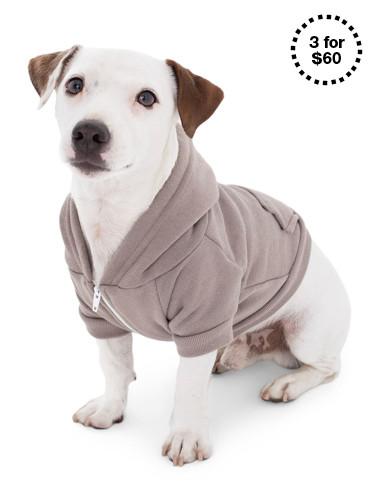 Pewter Flex Fleece Dog Zip Hoodie