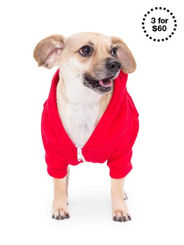 Red Flex Fleece Dog Zip Hoodie