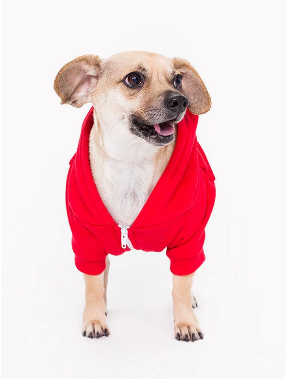 Red Flex Fleece Dog Zip Hoodie