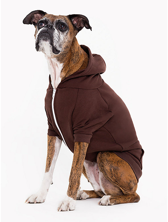 Brown Flex Fleece Dog Zip Hoodie (XL-2XL)