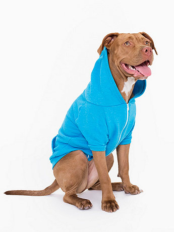 Neon Heather Blue Flex Fleece Dog Zip Hoodie (XL-2XL)