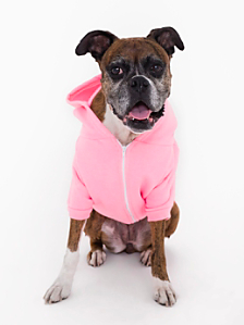 Neon Heather Pink Flex Fleece Dog Zip Hoodie (XL-2XL)