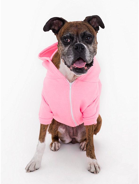Neon Heather Pink Flex Fleece Dog Zip Hoodie (XL-2XL)