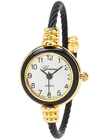 Geneva Black & Gold Bangle Watch