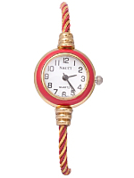 Twined Red & Gold Geneva Bangle Watch