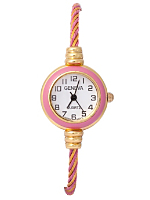 Geneva Twined Pink & Gold Bangle Watch