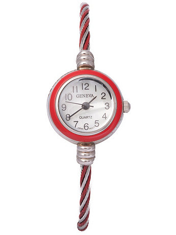 Geneva Twined Red & Silver Bangle Watch