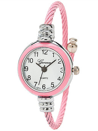 Geneva Bubble Gum & Silver Bangle Watch